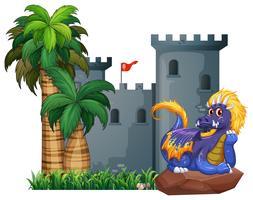 Dragão e um castelo vetor