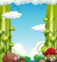 Árvore gigante e paisagem de cogumelo vetor