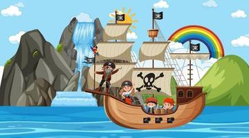 praia com navio pirata em cena diurna em estilo cartoon vetor