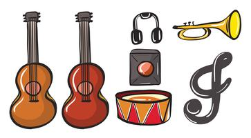 Vários instrumentos musicais vetor