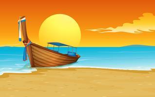 barco na praia vetor
