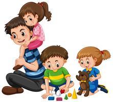 Família com pai e três filhos