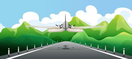 Avião decolando na pista vetor