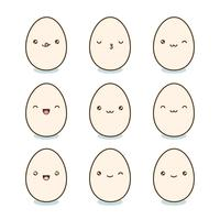 Conjunto de ovos de Páscoa feliz. Ovos de Kawaii com faces bonitos no fundo branco. Ilustração vetorial