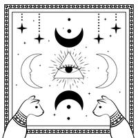 Gatos pretos, céu noturno com lua e estrelas. Quadro para texto de exemplo. Magia, símbolos ocultos.