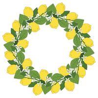 Frutos tropicais do limão do citrino com quadro redondo das flores. Fundo colorido de verão. Ilustração vetorial