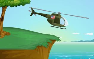 Helicóptero do exército na natureza vetor