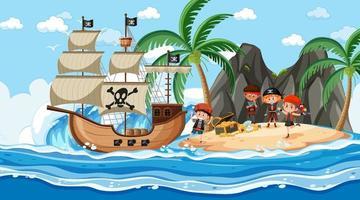 cena da ilha do tesouro durante o dia com crianças piratas vetor