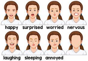Conjunto de expressão facial de menina