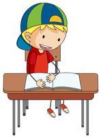 Um, menino doodle, livro leitura vetor