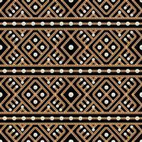 Teste padrão sem emenda do ornamento geométrico e das pérolas da corrente do ouro no fundo preto. Ilustração vetorial