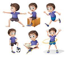 Diferentes atividades de um menino vetor