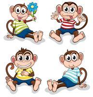 Macacos com diferentes expressões faciais vetor