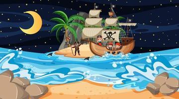 ilha com navio pirata em cena noturna em estilo cartoon vetor