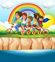 Família andando de bicicleta ao longo do rio vetor
