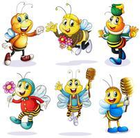 Um grupo de abelhas felizes vetor