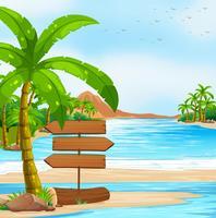 Vista para o mar com sinais e árvore