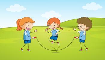 Crianças, tocando, pular corda vetor