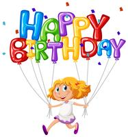 Feliz aniversário, cartão, com, menina, e, balões vetor