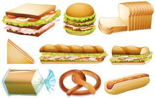 Conjunto de pão vetor