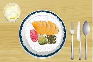 Arroz decorado com fatias de frutas no prato