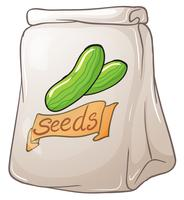 Um pacote de sementes de pepino vetor