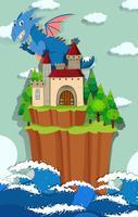 Dragão e castelo na ilha vetor