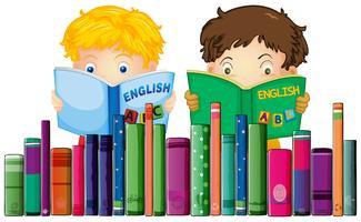 Meninos, leitura, livro inglês vetor