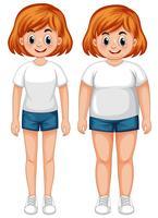 Uma garota magra e gorda vetor