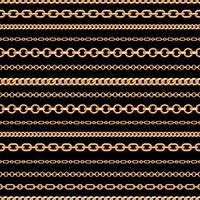 Teste padrão sem emenda de linhas chain do ouro no fundo preto. Ilustração vetorial