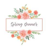 Mão de aquarela floral pintada com banner de texto, aquarelle flores exuberantes vetor