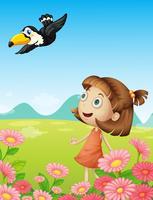 Menina jovem, e, pássaro vetor