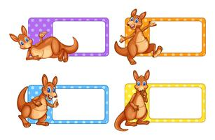 Etiquetas quadradas com canguru vetor
