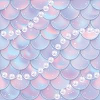 Escamas de peixe e pérolas padrão sem emenda. Textura de cauda de sereia. Ilustração vetorial