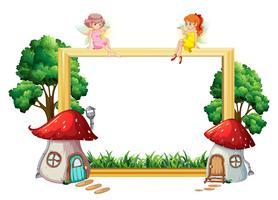 Menina fada no frame de madeira vetor