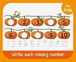 Escreva cada planilha de número ausente