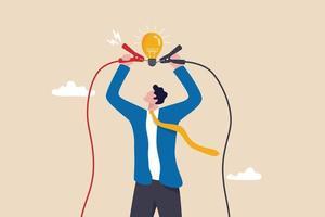 jump start new business idea, conhecimento para resolver o problema ou criatividade para pensar sobre o conceito de solução, empresário conectar eletricidade para lightbulb idea para iluminar a metáfora brilhante da idéia de solução. vetor