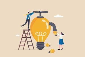 ideias de inspiração, mentoria ou coaching para motivar ou orientar soluções de negócios, criatividade e inovação para ajudar a desenvolver o conceito de negócios, gerente de empresário gire a válvula da lâmpada para fornecer ideias. vetor