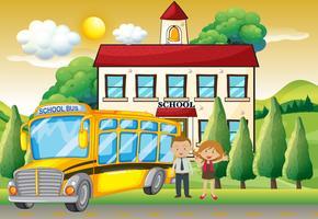 Professores e ônibus escolar na escola vetor