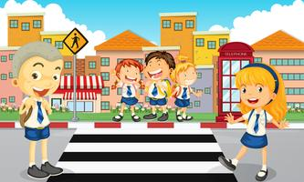 Estudantes, cruzando estrada vetor
