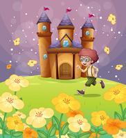 Um menino correndo na frente do castelo com flores vetor