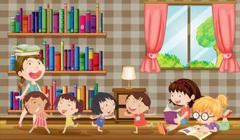 Muitas meninas lendo livros no quarto vetor