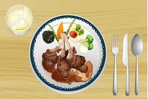 Uma carne e salada em um prato