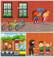 Crianças cometendo crimes no bairro vetor