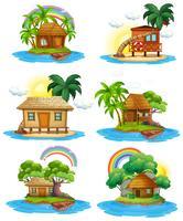Um conjunto de cabana na ilha vetor