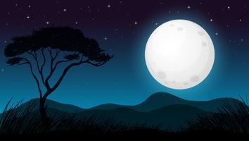Floresta de Savana na noite escura vetor