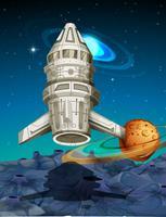 Nave espacial voando no espaço vetor