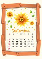 Modelo de calendário com girassol para setembro vetor