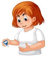 Menina, com, diabetes, verificar, glucose sangue vetor