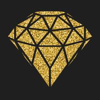Diamante dourado geométrico do glitter isolado no blackbackground.